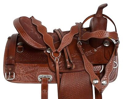 CUSTOM WESTERN PLEASURE TRAIL BARREL HORSE LEATHER SADDLE TACK SET 15 16 17 18