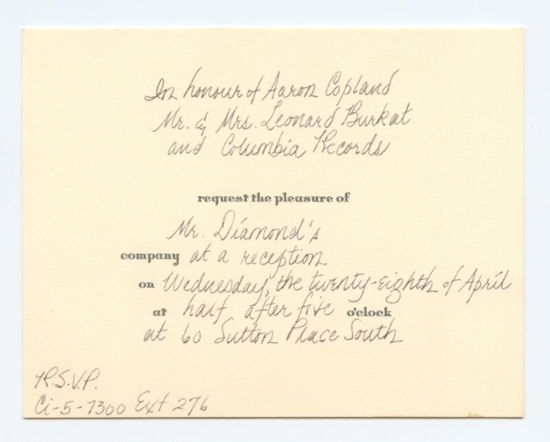 Invitation for David DIAMOND (Composer) to a Reception for Aaron COPLAND