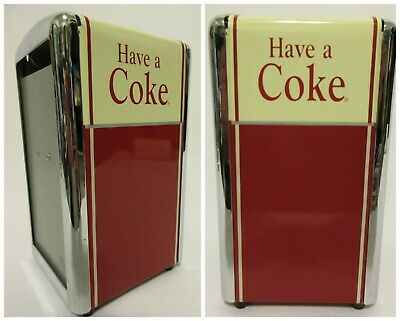 "Vintage Coca-Cola ® 1992 Metal Napkin Holder Dispenser Have A Coke 7"" Tall"
