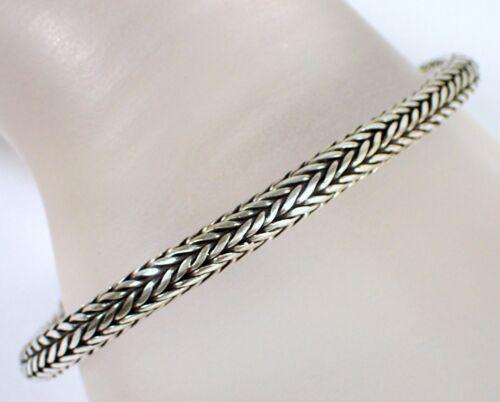 "HEAVY Vtg Suarti Bali BA Signed Sterling 5mm Woven Wheat Foxtail 7.5"" Bracelet"