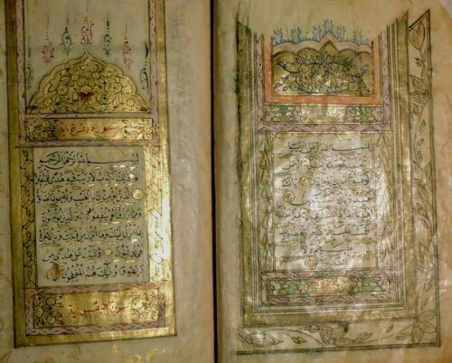 Illuminated Arabic Manuscript. Signed & Dated Medium Size, Complete KORAN, 1820