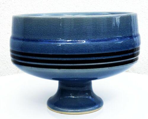 JAPANESE MODERNIST ROUND IKEBANA SUIBAN PEDESTAL BOWL VASE GLOSSY BLUE CRACKLE