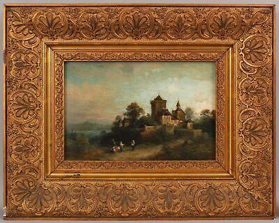 Antique HEINRICH STEINIKE German Impressionist Landscape Oil Painting Gilt Frame