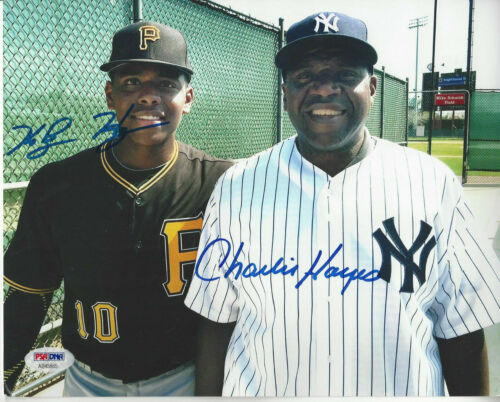 Yankees Charlie Hayes his son Pirates Ke'bryan Hayes autographed 8x10  PSA DNA