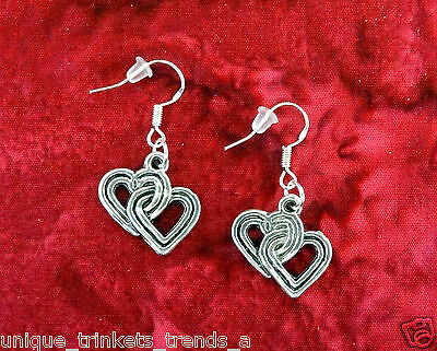VINTAGE INSP DOUBLE HEART SILVER EARRINGS~MOTHERS DAY GIFT FOR HER~STERLING HOOK