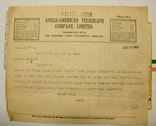 1923 NEWFOUNDLAND ANGLO-AMERICAN TELEGRAPH CABLE - DUNLOP MAXFLI GOLF BALLS