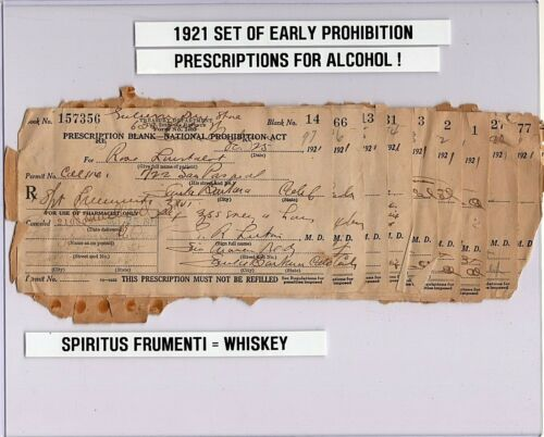 Early Block of (10) PROHIBITION PRESCRIPTION LOT FOR ALCOHOL / WHISKEY DISPLAY