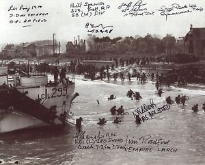 WW2 D-Day 8x10 photo signed by EIGHT Normandy landings veterans