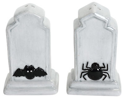 Tombstones With Spider and Bat Halloween Salt and Pepper Shakers Set
