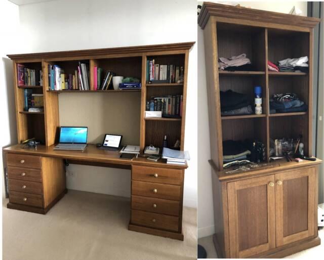 desk with cabinet and bookcases tasmanian oak desks gumtree rh gumtree com au