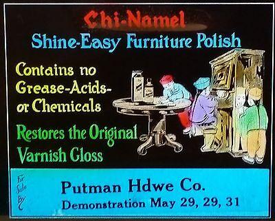 "Chi-namel, ""Racist"" Furniture Polish Advertising, Rare Magic Lantern Glass Slide"