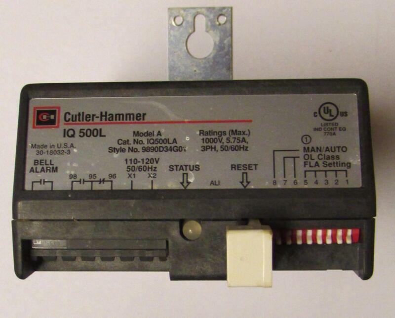 EATON CUTLER HAMMER IQ500LA Model A IQ500L Electronic Overload Relay 9890D34G01