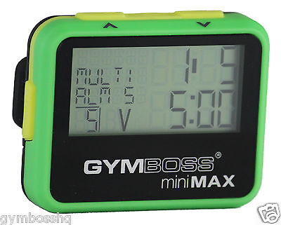 GYMBOSS miniMAX INTERVAL TIMER AND STOPWATCH GREEN YELLOW SOFTCOAT SHIPPED FR UK