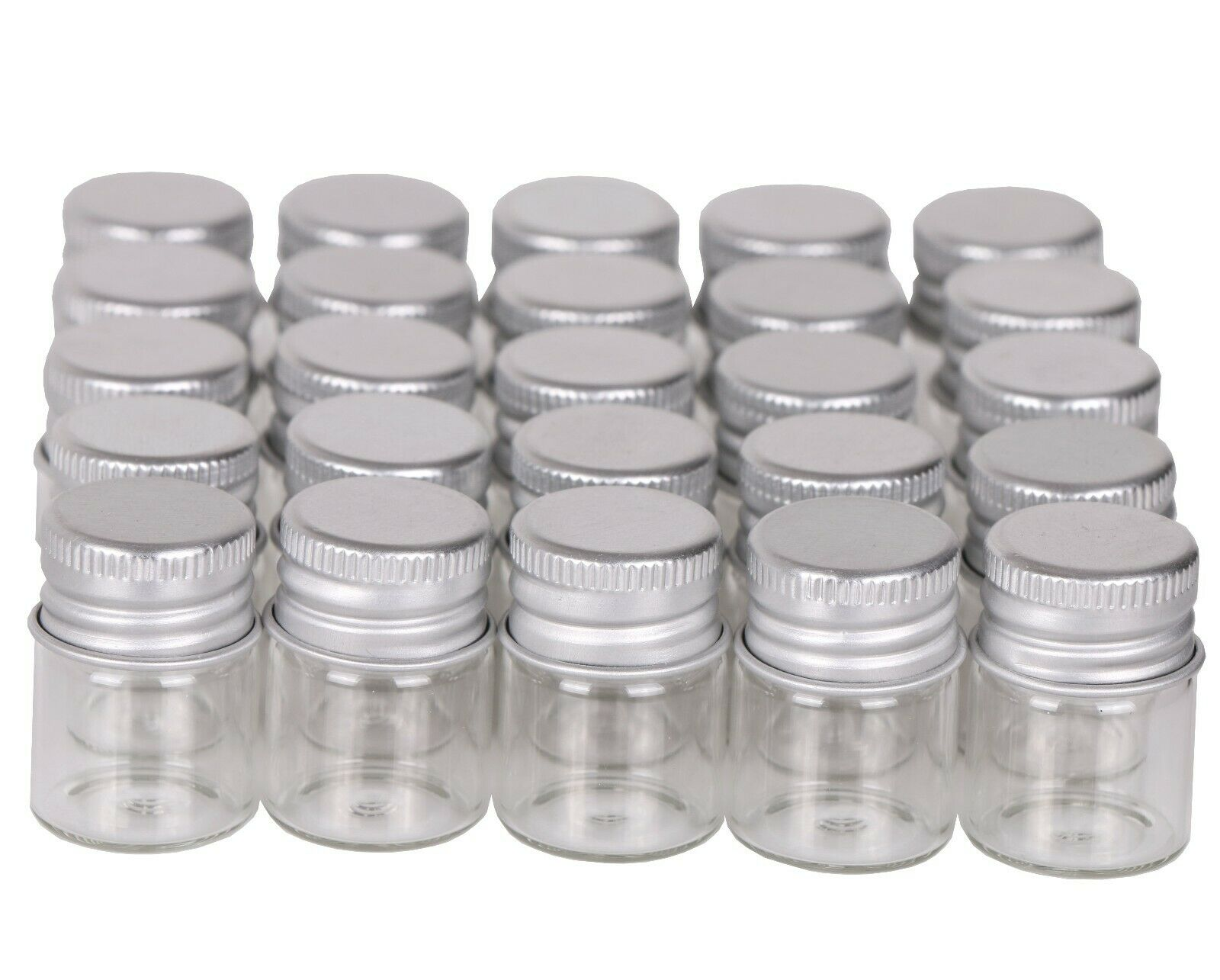 100pcs Tiny Vials 5ml Small Glass Bottles Mini Jars with Alu