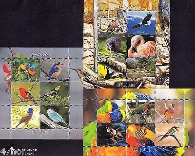 MALAWI ^ BIRDS, BLUE BIRD, PARROT, FLAMINGO, KINGFISHER ^ 3 X M/S MNH