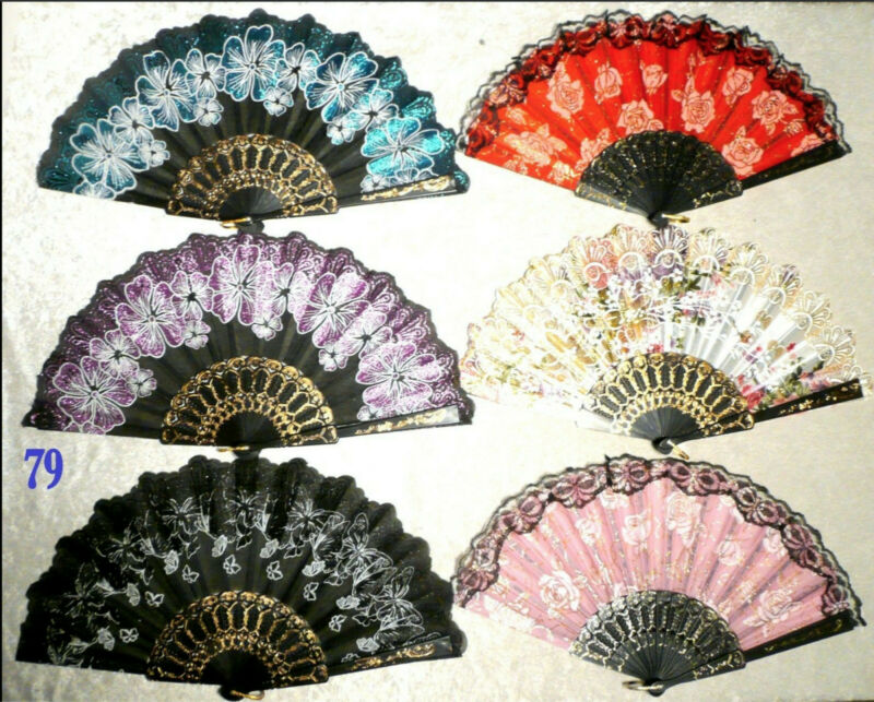 Lot of 6 BlackLace Roses Butterfly Asian Chinese JapanDance Handheld Folding Fan