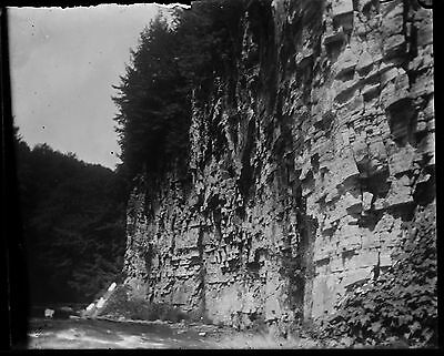 Antique 4X5 Glass Plate Negative Cliff Next To Running Water  V4430