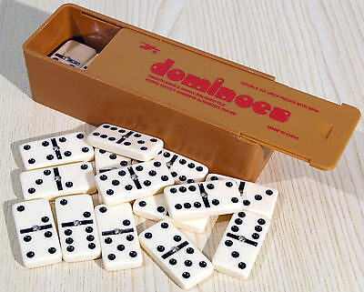 Plastic Travel Sized Double Six Dominoes - Black Spots - Spinners - Ref:00108