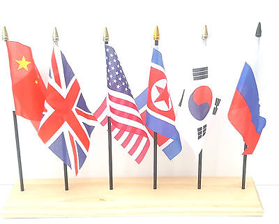 China Union Jack USA North Korea South Korea And Russia Desk Flag Set 6 FlagSet