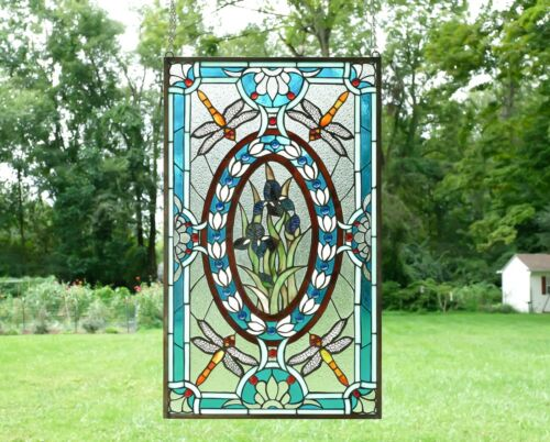 """Handcrafted stained glass window panel Dragonfly & Iris Flowers, 20.5"""" x 34"""""""