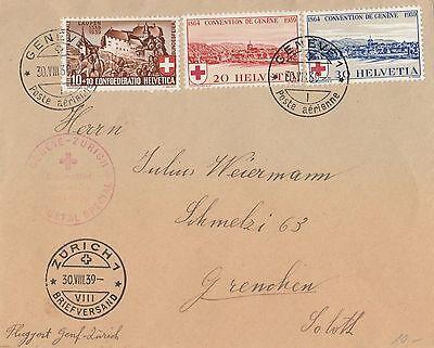 Flugpost Genf - Zürich von 1939. Schön frankiert und gestempelt