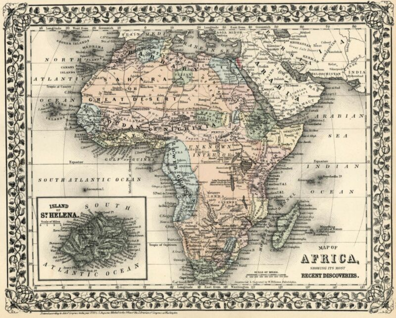 African Continent Unexplored Interior Cape Colony 1872 Mitchell map