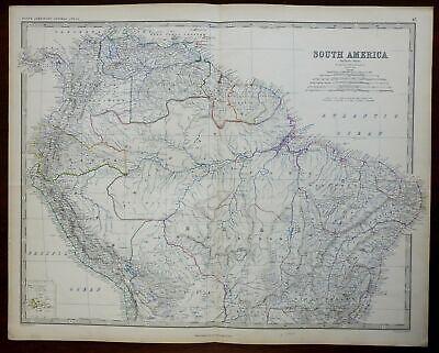 South America Peru Ecuador Venezuela Brazil Bolivia 1860 Blackwood engraved map