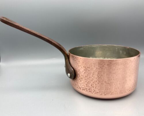 """Vintage Nice Quality Copper Sauce Pan Hammered Walls Tin Lined Iron Handle 5.5""""D"""