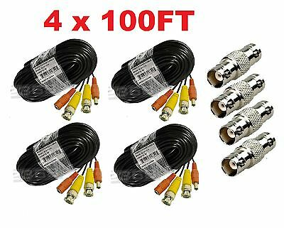 Premium Quality 4x100ft Video Power BNC Cable for Night Owl CCTV Security Camera