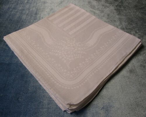 Antique 6 Linen Damask Napkins Lilies of the Valley Pearl Garlands Hand Hemmed