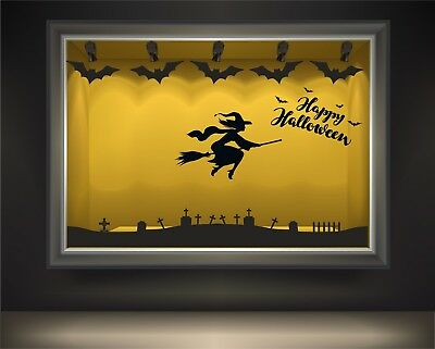 Halloween Window display wall & window stickers, bats, cats, witches, pumpkins](Halloween Window Displays)