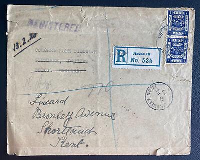 1920 Jerusalem Palestine Registered Cover To Kent England