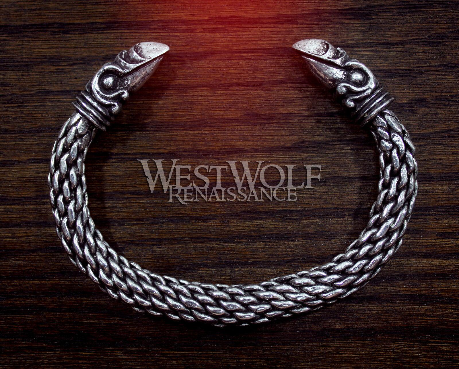 Large Silver Viking Odin's Raven Bracelet/Torc --- Norse/