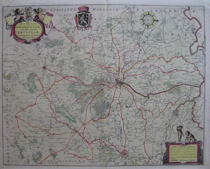 c1640 Secunda Pars Brabantiae BRUSSELS BELGIUM * JANNSON Original Antique NICE!!