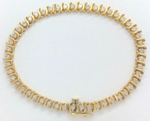 14K Solid Yellow Gold 1.47 Carat Diamond Tennis Bracelet 7.5 Inches