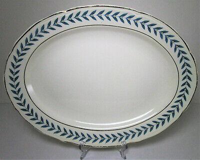 "Edwin Knowles China Blue Laurel Oval Platter 13 1/2"" Vintage Gold Trim Plate"