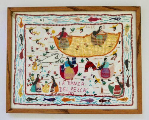 VTG Embroidery Textile Wall Folk Art Story Cloth Tapestry La danza del pezca