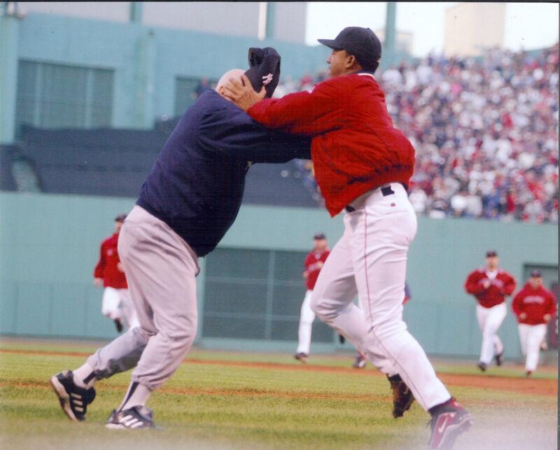NY Yankees Don Zimmer & Red Sox's Pedro Martinez  8x10  color photo