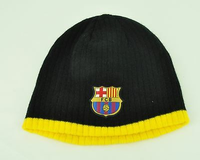 FCB Barcelona Knit Beanie Black Yellow Blank Plain Solid Flexible Acrylic