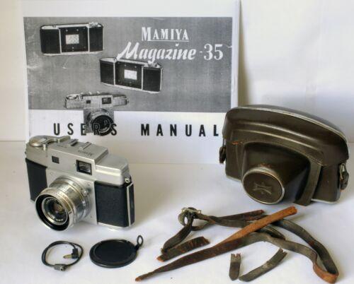 Mamiya Magazine 35 Camera w/ Original Leather Case Excellent Working Order Rare