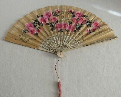 Vintage Waldorf Astoria Hotel Advertising Folding Paper Wood Hand Fan Japan