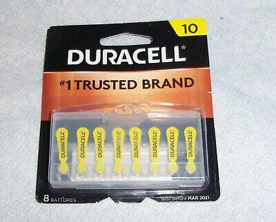 Duracell Hearing Aid Batteries DA10B8ZM 8 Pack Best by 03/2021 Size 10  fast (Best Hearing Aid Batteries)