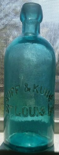 SCARCE BUFF & KUHL DEEP BLUE AQUA 1870 ERA BLOB TOP ST LOUIS MINERAL WATER