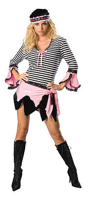 Sexy Pirate Caribbean Wench Girl Black Pink Dress Up Halloween Adult Costume