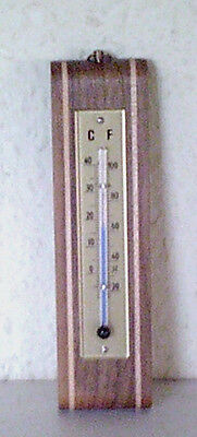 Antique Vintage Thermometer, Walnut, Inlays, Temperatures C + F, Size 5.51 inch
