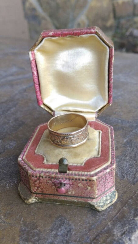 VICTORIAN 14K SOLID GOLD DECAGON CIGAR WEDDING BAND RING
