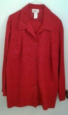 R&K Originals Women's 16/18 Red velour Pant Suit Jacket W/ Elastic Waist Pants