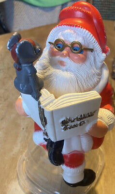Sitting Blow Mold Santa Christmas Story With Mouse 7 1/2 Inches Shelf Sitter Vtg