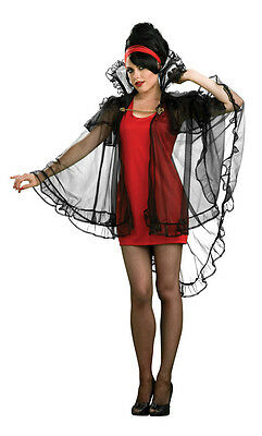 Sheer Intrigue Gothic Black Cape Fancy Red Dress Up Halloween Sexy Adult Costume](Plain Black Dress Halloween Costume)