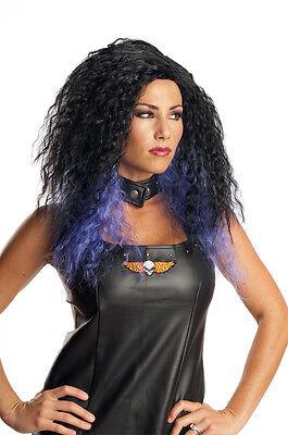 Womens Curly Black Wig Streaks Purple Violet Hair Frizzy Punk 80s Rocker Adult (80s Accessories)